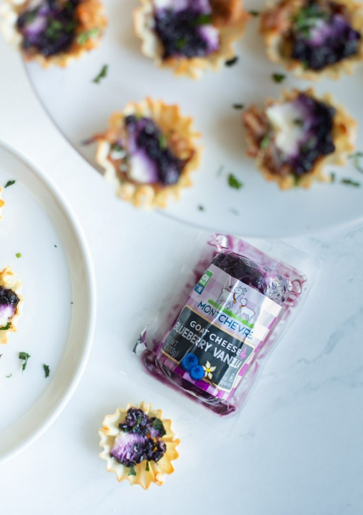 blueberry goat cheese appetizers on a plate