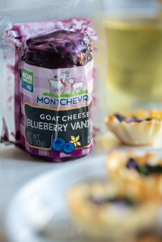 closeup of montchevre blueberry vanilla goat cheese