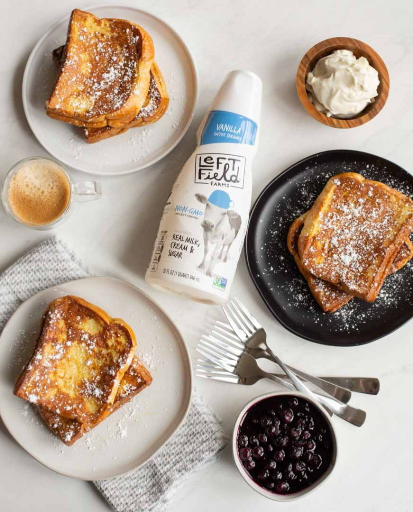 stuffed french toast on a table with left field farms creamer