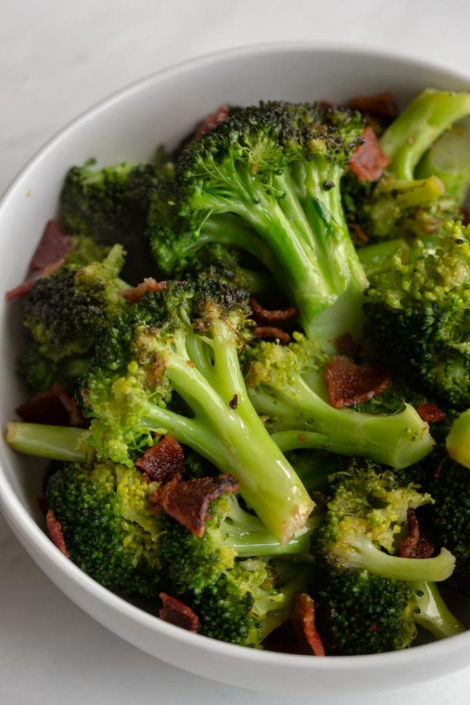 broccoli and bacon in a bowl
