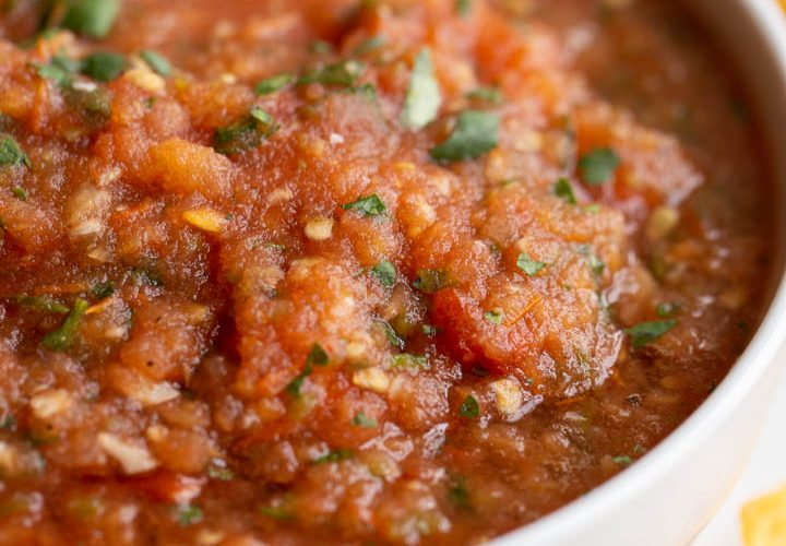 roasted red salsa in a white bowl