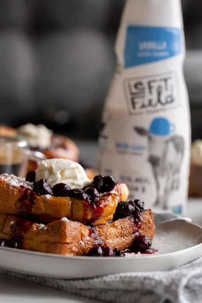 stuffed french toast with blueberry sauce and cream