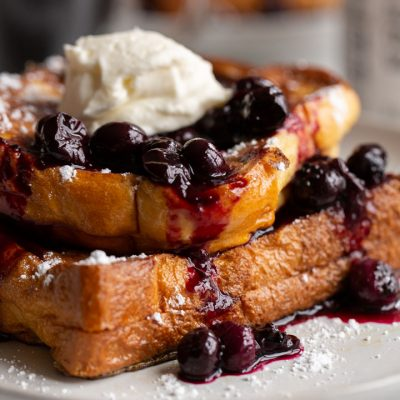 Blueberry Cream Cheese Stuffed French Toast with Left Field Farms!