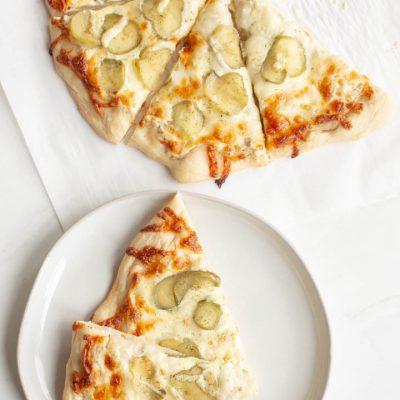 Creamy Garlic and Dill Pickle Pizza