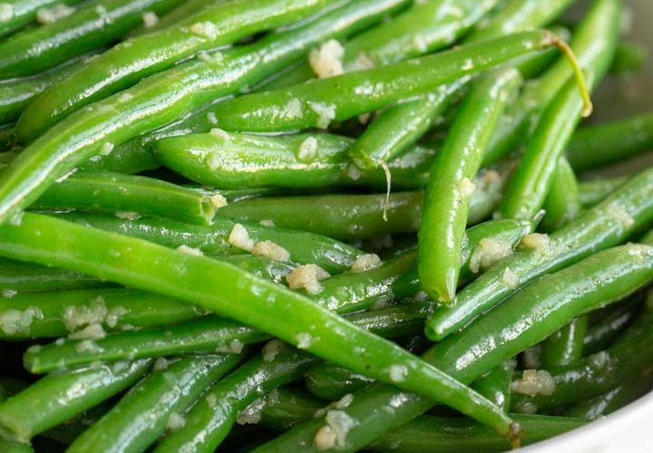 garlic green beans in a bowl on a table