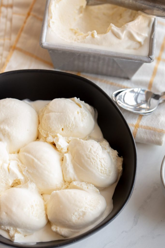 vanilla honey ice cream in a bowl
