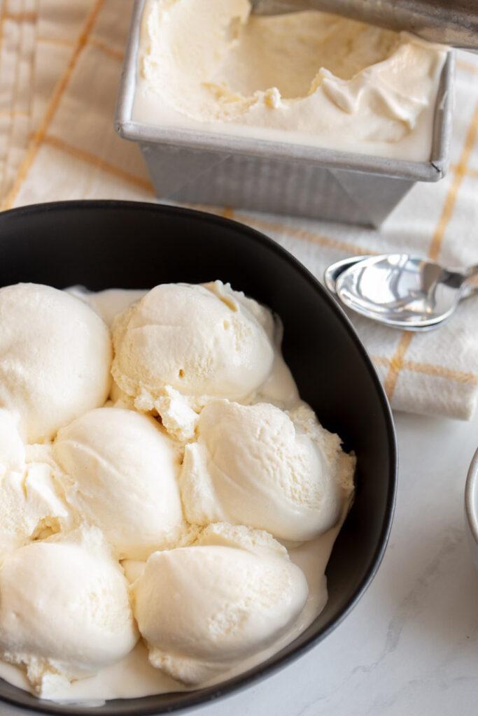 vanilla honey ice cream in a bowl