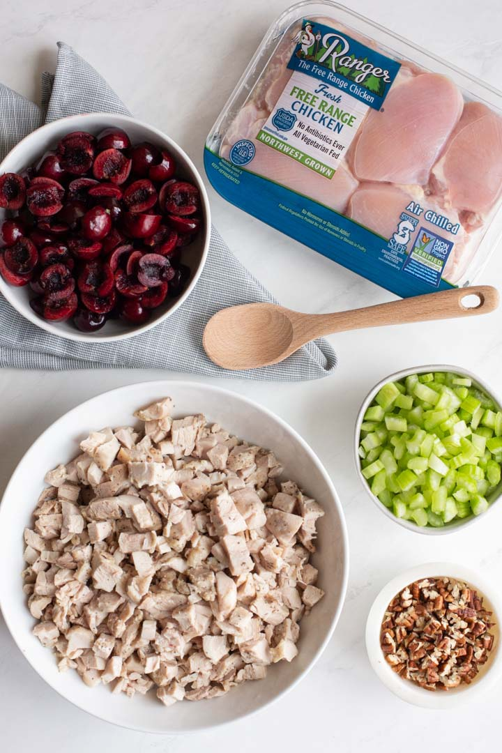 ingredients for cherry chicken salad on a table