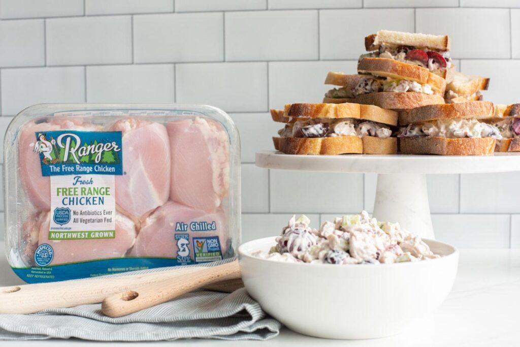 cherry chicken salad sandwiches on a stand
