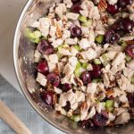 Cherry Chicken Salad is the perfect combination of cherries, chicken, pecans, celery and a creamy, tangy sauce. It's a fantastic summer party recipe for feeding big crowds! #ad