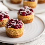 These mini pumpkin cheesecakes are moist and fluffy, full of pumpkin pie flavor then topped with a cranberry and pecan compote and white chocolate. They're the ultimate Thanksgiving and fall dessert!