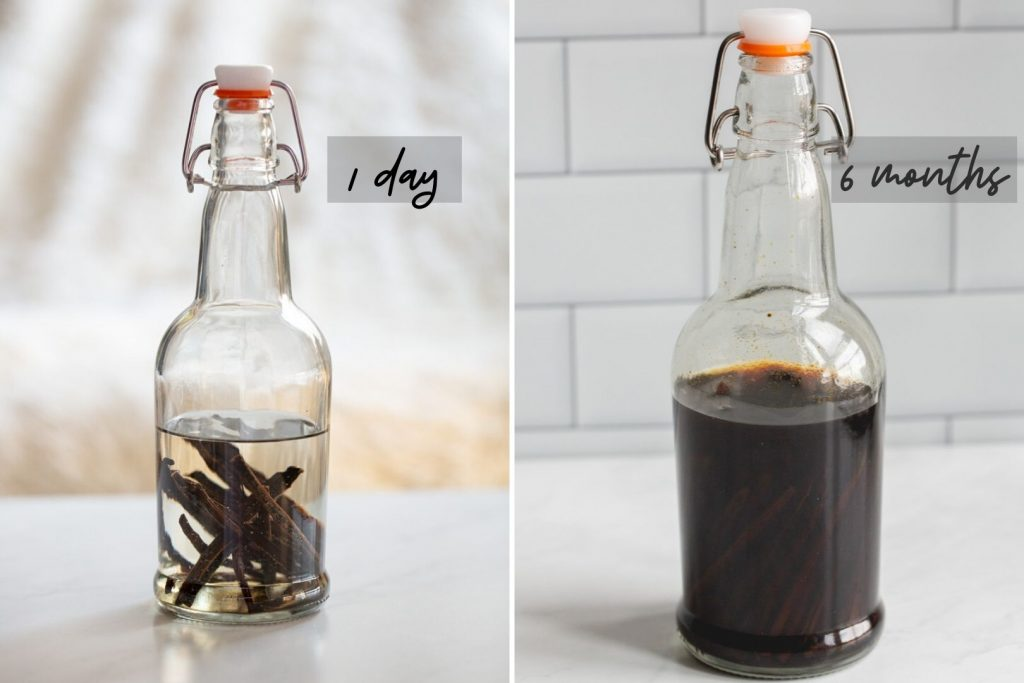 two photos showing homemade vanilla extract on day 1 and 6 months