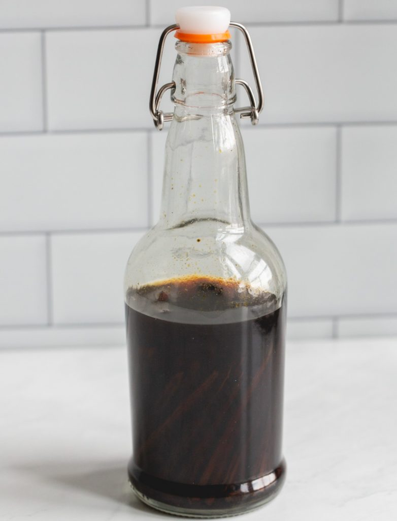 homemade vanilla extract in a bottle