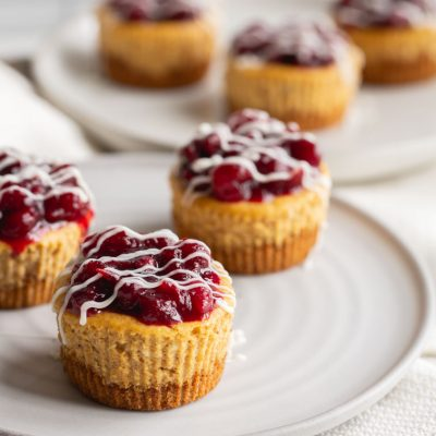 Mini Pumpkin Cheesecakes with Cranberry