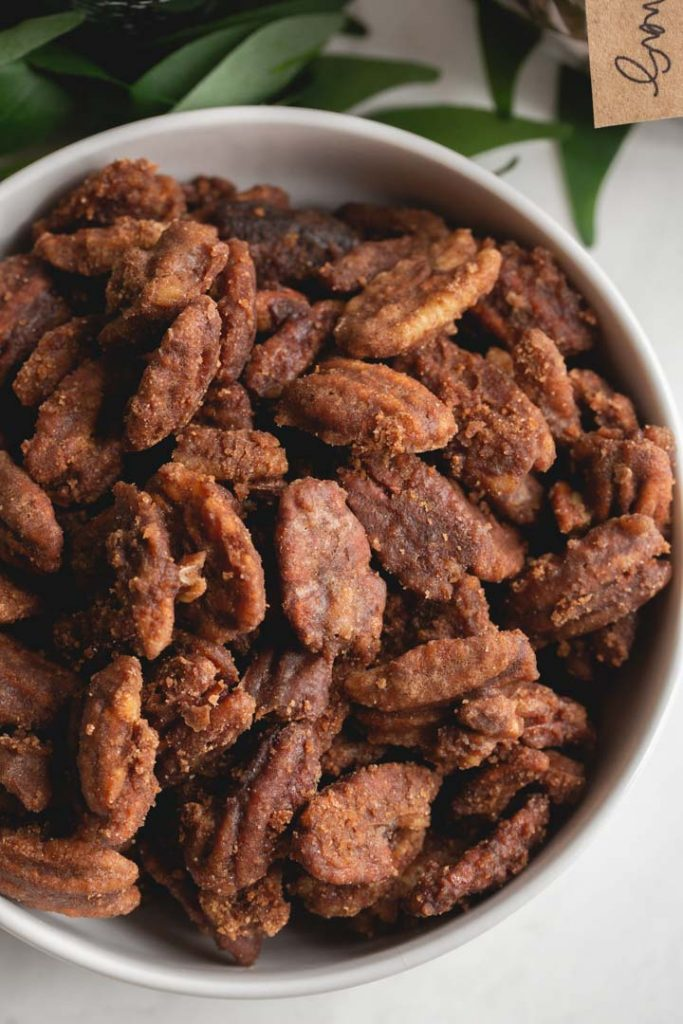 spicy candied pecans in a bowl