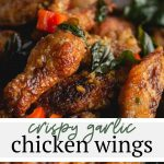This crispy fried chicken wings recipe is my favorite way to make wings! Tossed in tapioca or cornstarch, fried to golden perfection and swimming in a sweet, mildly spicy garlic sauce. It's the perfect party food!