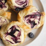 blueberry danishes made with cream cheese and puff pastry
