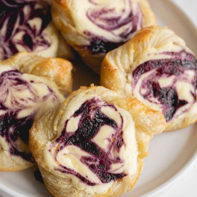 Swirled Blueberry Cream Cheese Danish