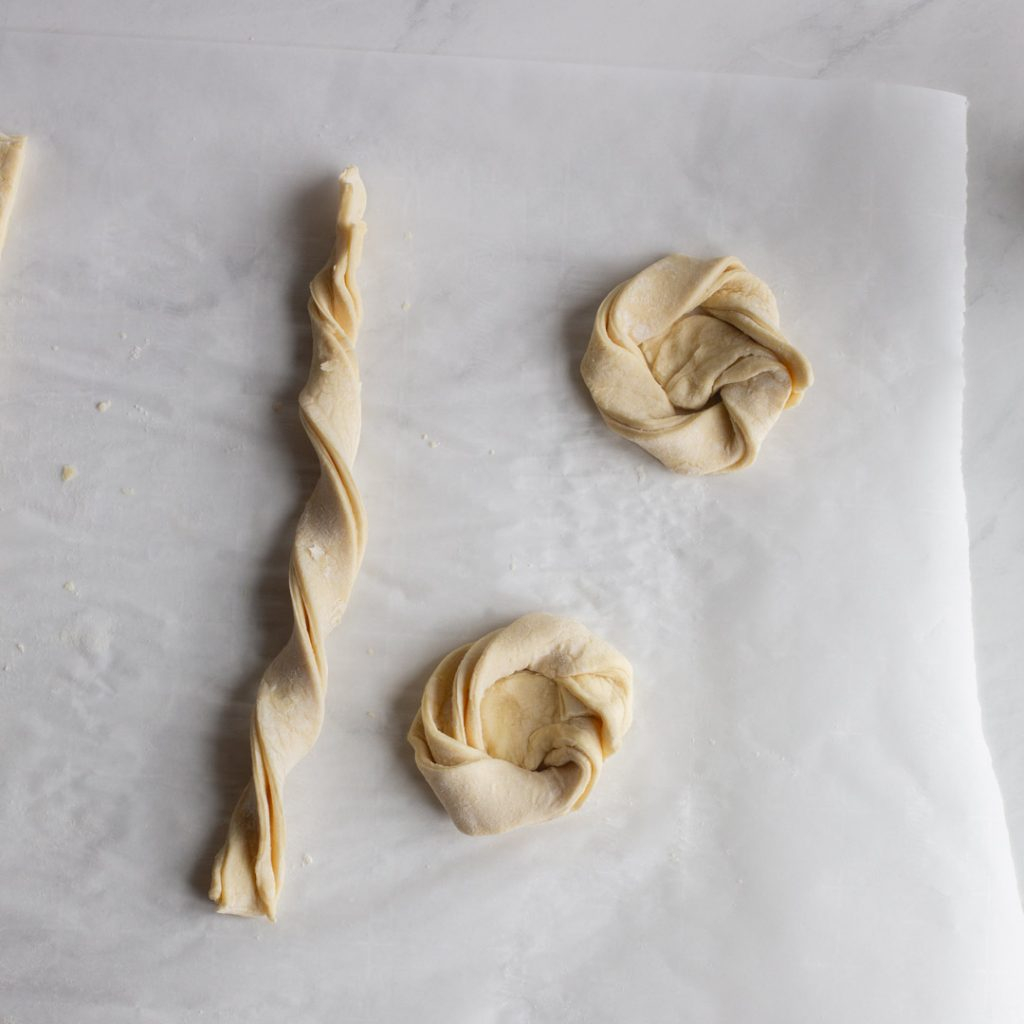 puff pastry twisted and twirled into circles