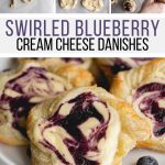 Make the best blueberry cream cheese danish with this easy recipe! Puff pastry dough is twirled and topped with a sweet cream cheese mixture and homemade balsamic blueberry sauce.