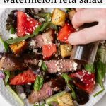 AD: The recipe for this bright and refreshing salad includes grilled tri tip steak, watermelon, red onion, feta cheese, basil, mint and a delicious balsamic vinaigrette. Perfect for serving at summer dinner parties!
