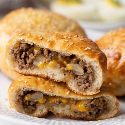 open faced cheeseburger stuffed buns