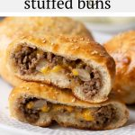 #AD These super yummy cheeseburger stuffed buns are packed with beef, cheese, onions and wrapped in golden brown pizza dough. They're easy to prepare and fun to eat while watching the game! #Safeway