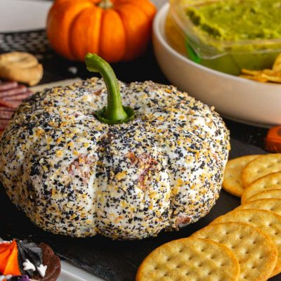 Pumpkin Shaped Everything Bagel Cheese Ball