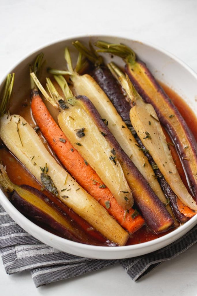 maple and citrus glazed carrots in a bowl